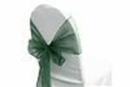 "6 Chair Bow Organza Sashes Chair Wedding Party Bows 9"" x 10ft - Hunter Green - $14.84"