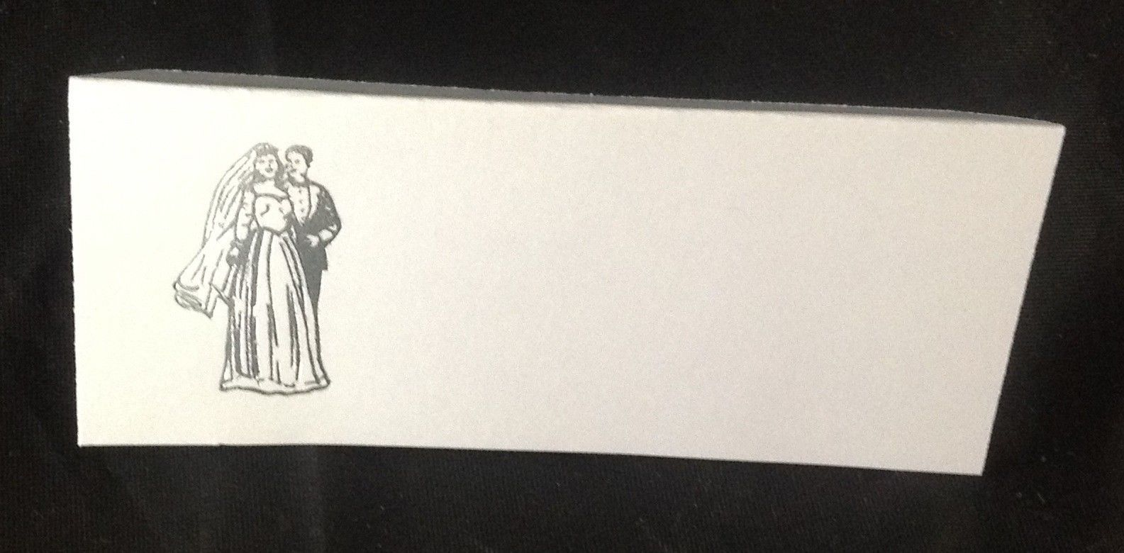 "50 Silver Bride and Groom Tent Style White place cards 4.25"" x 1.75 folded"