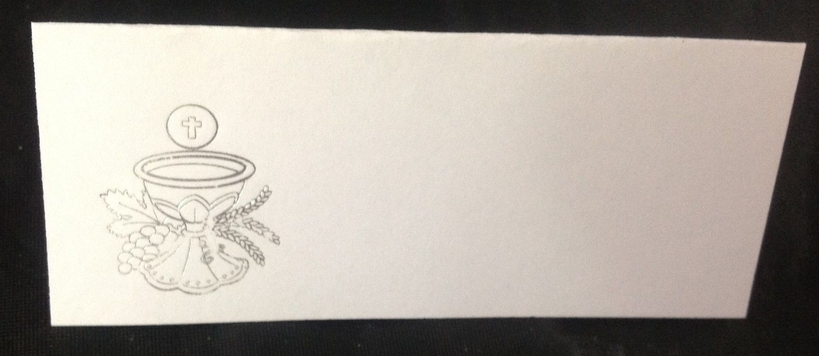 """50 Silver Challis Tent Style White place cards 4.25"""" x 1.75 folded"""