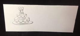 "50 Silver Wedding Cake Tent Style White place cards 4.25"" x 1.75 folded - $7.91"