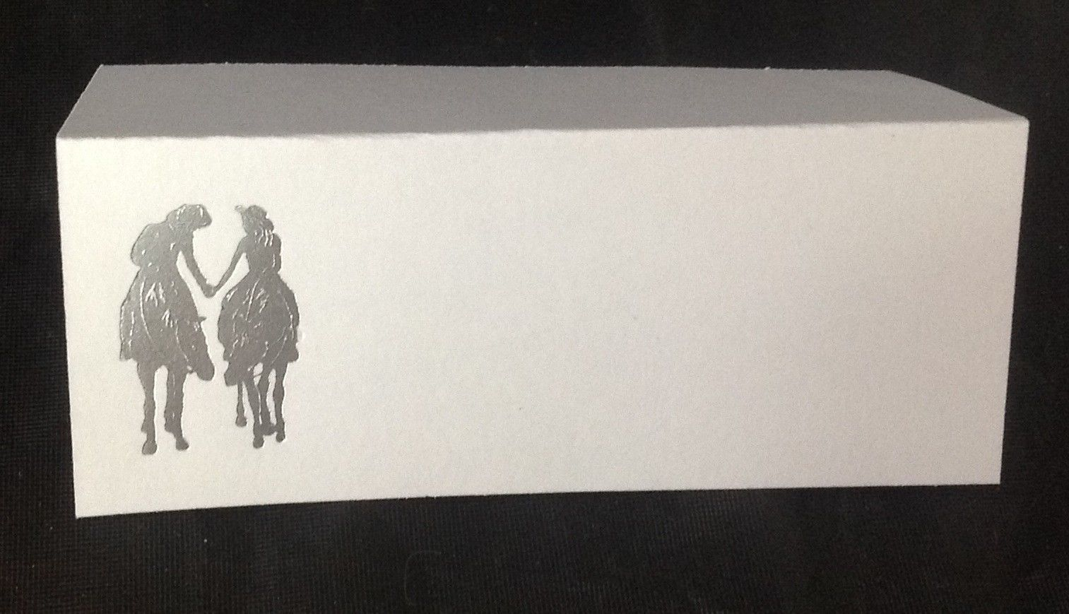 "50 Silver Western Romance Tent Style White place cards 4.25"" x 1.75 folded"