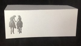 "50 Silver Western Romance Tent Style White place cards 4.25"" x 1.75 folded - $7.91"