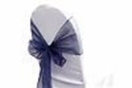 "6 Chair Bow Organza Sashes Chair Wedding Party Bows 9"" x 10ft - Navy Blue - $14.84"