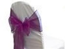 "6 Chair Bow Organza Sashes Chair Wedding Party Bows 9"" x 10ft - Plum - $14.84"