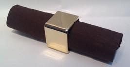 6 Gold Fun Square Elegant Reusable Plastic Napkin Rings - $5.89