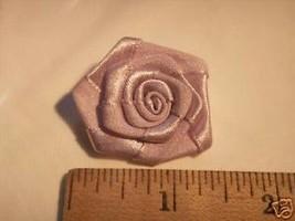 """6 lavender satin ribbon large rose  1.25"""" appliques - $1.98"""