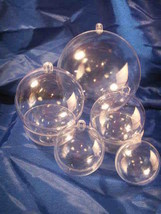 7 Clear Plastic Ball Fillable Ornaments 1 Each 7 Sizes - $15.19