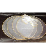 9 inch white organza circles 50 pcs gold edge candy favor wrap - $14.40