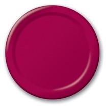 "Burgundy 6.75"" Dessert Paper Plates 24 Per Pack heavy duty - $2.96"