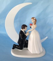 Bride and Groom Cake top funny couple moonlight moment whimsical statue - $29.65