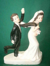 Bride and Groom Cake top funny couple whimsical tie holding bride - $12.86