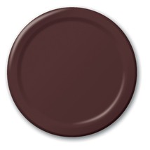 "Chocolate Brown 6.75"" Dessert Paper Plates 24 Per Pack heavy duty - $2.96"