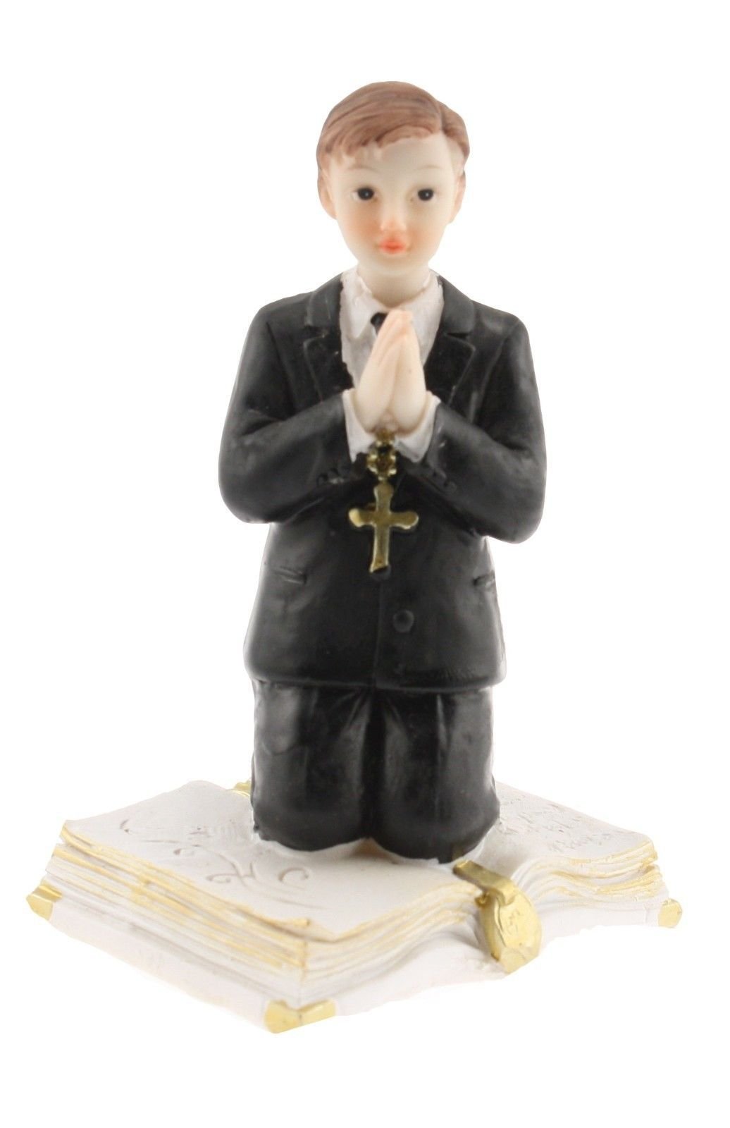 "Communion Kneeling Praying Boy  on a Bible Statue Cake Top Black suit 4.5"" tall"