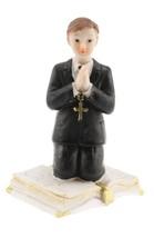 Communion Kneeling Praying Boy  on a Bible Statue Cake Top Black suit 4.... - $5.93