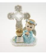 Communion Christening Baptism Boy Angel with Cross Statue CakeTtop - $12.82