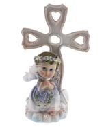 Communion Christening Baptism Boy Praying Angel Cross & Bible Statue Cak... - $12.82