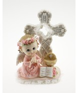 Communion Christening Baptism Girl Angel with Cross Statue CakeTtop - $12.82