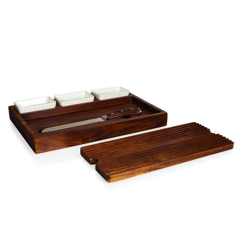 Heritage Collection Bruchetta Acacia Cutting Board with Bread Knife and bowls