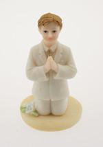 "Kneeling Communion Boy white suit statue cake topper decoration 4"" tall - $3.95"