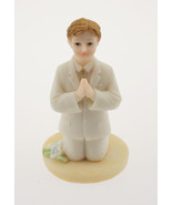Kneeling Communion Boy white suit statue cake topper decoration 4" tall - $3.95