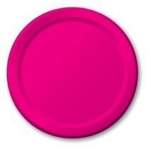 "Hot Pink 6.75"" Dessert Paper Plates 24 Per Pack heavy duty - $2.96"
