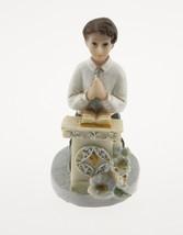 "Kneeling Communion Boy podium flowers statue cake topper decoration 4"" tall - $3.95"