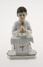 "Kneeling Communion Boy podium bible statue cake topper decoration 4"" tall - $3.95"