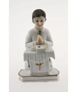 Kneeling Communion Boy podium bible statue cake topper decoration 4" tall - $3.95