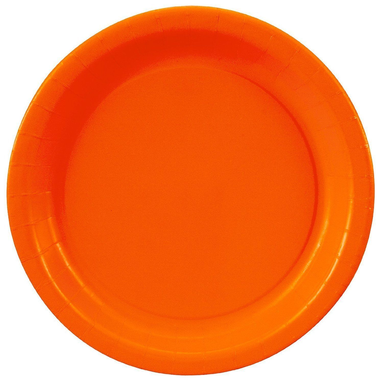 "Orange 6.75"" Dessert Paper Plates 24 Per Pack heavy duty"