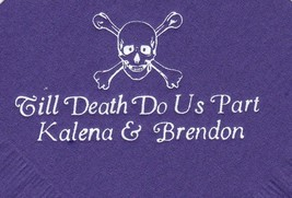 SCULL AND BONES LOGO 50 Personalized printed cocktail beverage napkins - $10.88+