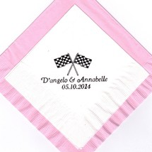 RACING FLAGS LOGO 50 Personalized printed cocktail beverage napkins - $10.88+