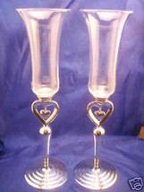 Silver plated toasting glasses champagne flutes... - $39.11