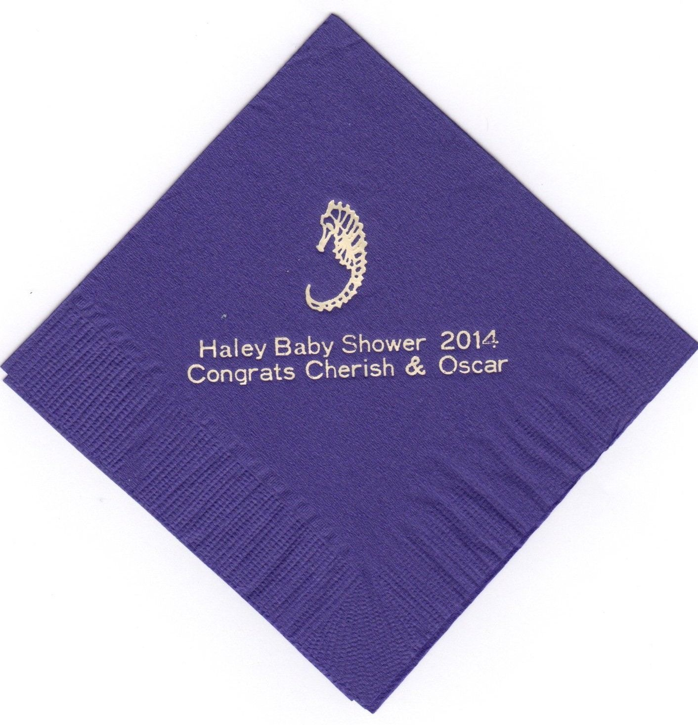 SEA HORSE 50 Personalized printed LUNCHEON DINNER napkins