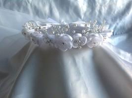 Wedding Communion veil tiara halo satin organza & crystal like pearl flowers - $24.70