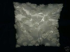 White satin square ring bearer pillow with flowers - $15.83