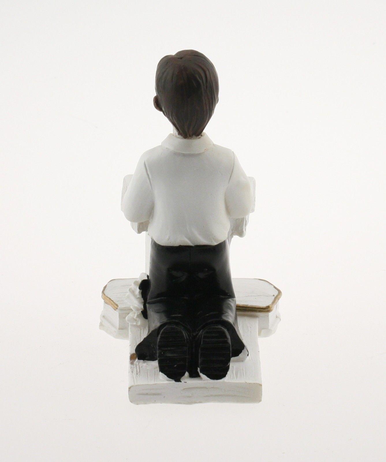 "Kneeling Communion Boy podium bible statue cake topper decoration 4"" tall"
