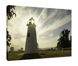 An item in the Art category: Turkey Point Lighthouse with Sun Flare 2 Fine Art Canvas & Unframed Wall Art