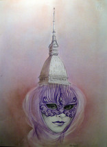 Turin surreal landascape drawing on paper 42x33 cm handmade Italy - $150.00
