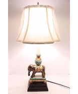 Unique Porcelain Elephant Figurine Gold Gild Candle Stick Holder Table L... - $197.99