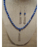 Silver Tassel Royal Blue Cats Eye Necklace Earr... - $38.99