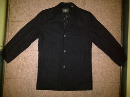 Dockers Three Button Black Wool Lined Walking Jacket Trench Pea Coat M M... - $99.99