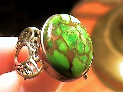 Sterling Silver 925 ring 8 classy natural green turquoise bold elegant