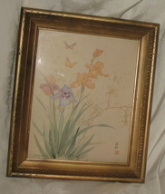 Vintage Gold Gilded Frame w/ Monica Liu Watercolor Print - $65.00