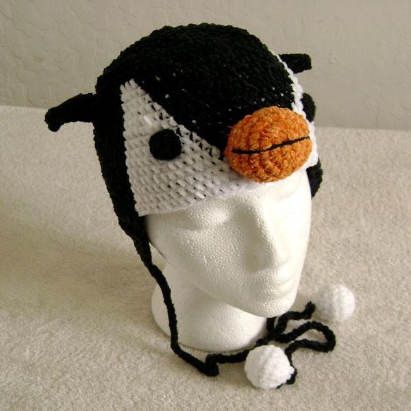 Penguin Hat w/Ties for Children - Animal Hats - Large