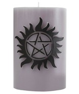 Supernatural TV Show Anti-Possession Sculpted Insignia Pillar Candle NEW... - $29.02