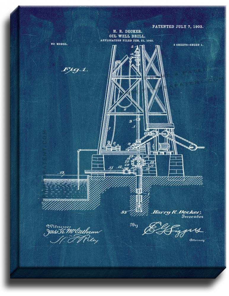 Primary image for Oil Well Drill Patent Print Midnight Blue on Canvas