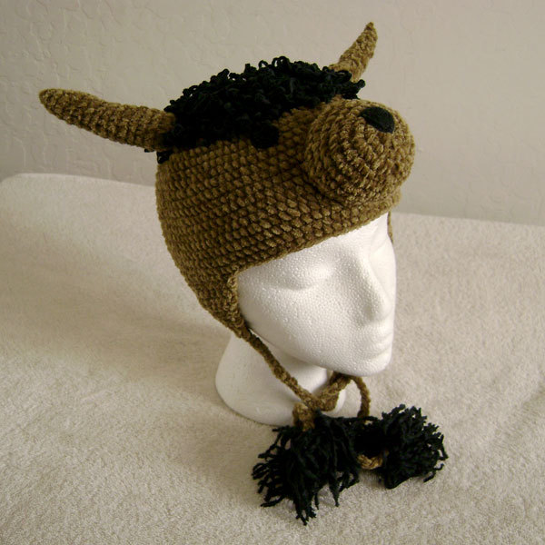 American Bison Hat w/Ties for Children - Animal Hats - Large