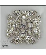 Signed Eisenberg Ice Maltese Cross Brooch Clear Rhinestones (#J1352) - $200.00