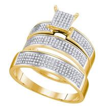10k Yellow Gold His Her Round Diamond Cluster Matching Bridal Wedding Ring Set - $699.00