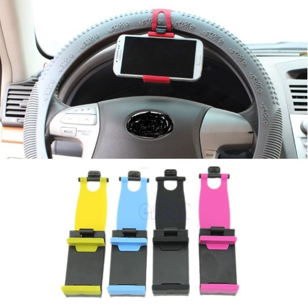 Universal Car Steering Wheel Clip Mount Holder Cradle Stand For Mobile Phone GPS